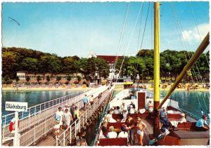 Ansichtskarte, Glücksburg, An der Dampferanlegebrücke, belebt, 1974