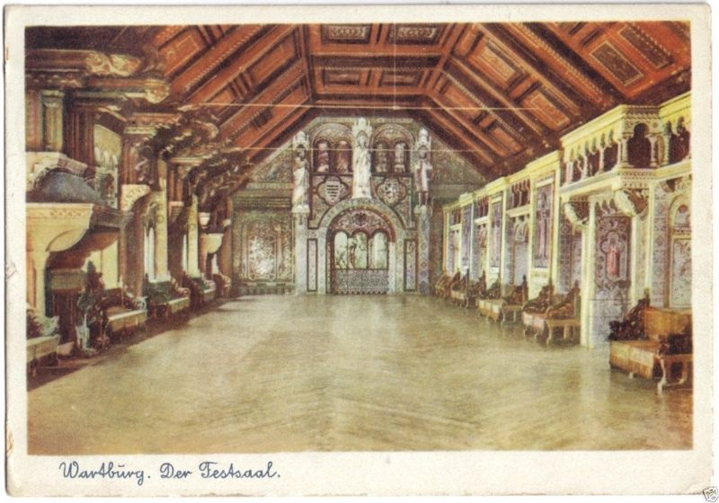 Ansichtskarte, Eisenach, Wartburg, Der Festsaal, früher DDR-Farbdruck, um 1951