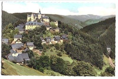 Ansichtskarte, Ludwigsstadt, Blick auf Burg Lauenstein, um 1964