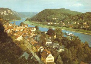 Ansichtskarte, Stadt Wehlen Sächs. Schweiz, Teilansicht mit Elbtal, 1987