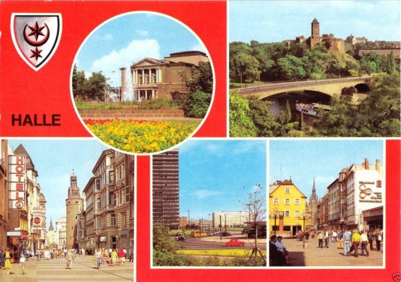 Ansichtskarte, Halle Saale, fünf Abb., gestaltet, Wappen, 1981