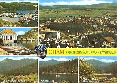 Ansichtskarte, Cham Bayer. Wald, 6 Abb., u.a. Übersicht, ca. 1980