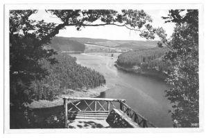 Ansichtskarte, Am Stausee der Bleiloch-Saaletalsperre, Landpoststempel, 1953