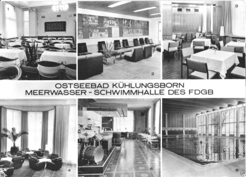 Ansichtskarte, Ostseebad Kühlungsborn, Meerwasser-Schwimmhalle des FDGB, sechs Abb., 1974