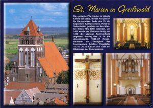 Ansichtskarte, Greifswald, Kirche St. Marien, vier Abb., Chronik-Karte, um 2000