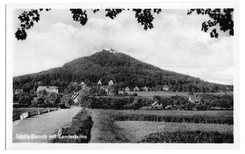 Ansichtskarte, Görlitz - Biesnitz, Totale mit Landeskrone, 1955