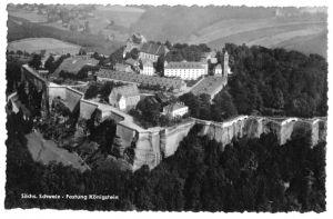 Ansichtskarte, Königstein Sächs. Schweiz, Festung Königstein, Luftbild, 1965