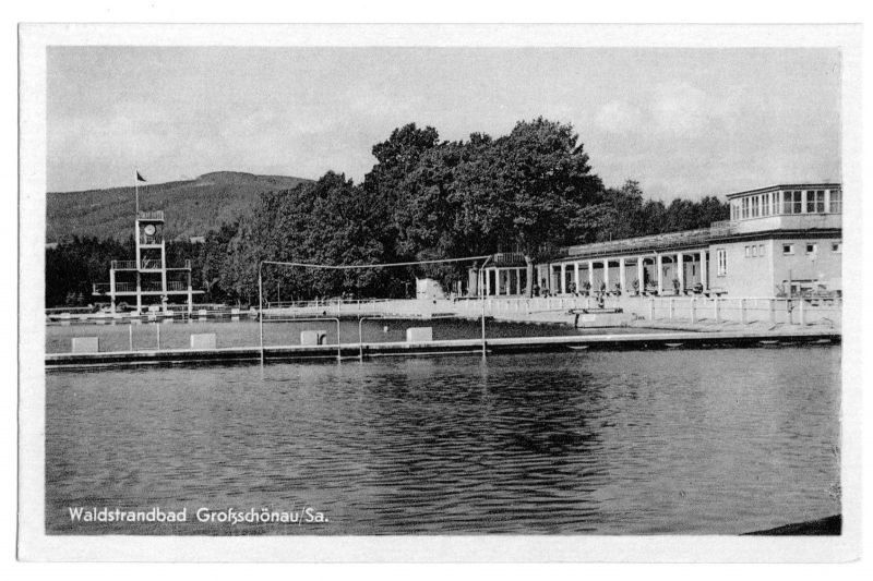 Ansichtskarte, Großschönau, Waldstrandbad, 1953