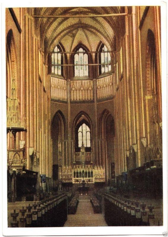 Ansichtskarte, Bad Doberan, Klosterkirche, Innenansicht, früher DDR-Farbdruck, 1953
