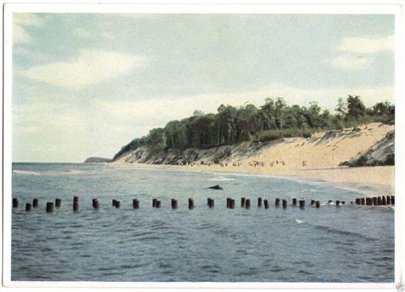 Ansichtskarte, Am Ostseestrand, Steilküste, früher DDR - Farbdruck, 1954