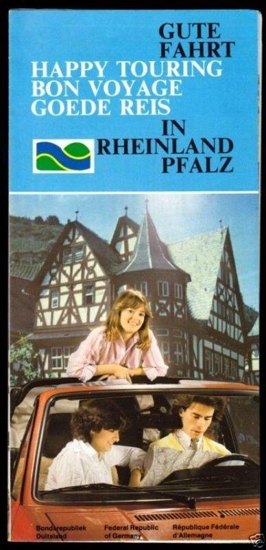 Prospekt mit Autokarte, Autotouren in Rheinland-Pfalz, 1981