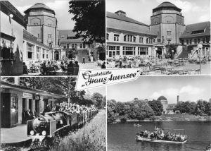 Ansichtskarte, Leipzig, Gaststätte Auensee, vier Abb., 1964