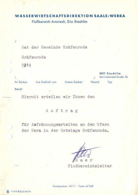 Anschreiben, Wasserwirtschaftsdirektion Saale / Werra, um 1976