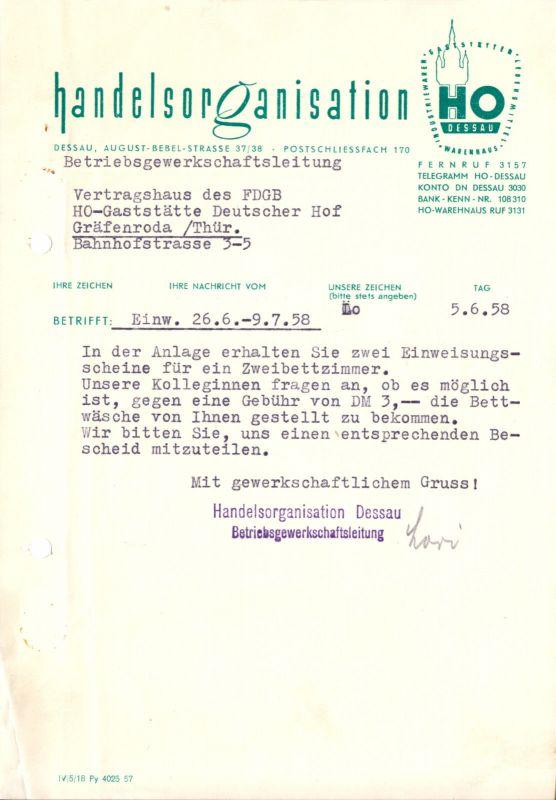 Anschreiben, HO Dessau, Urlaubsplatz in Gräfenroda, 5.6.58