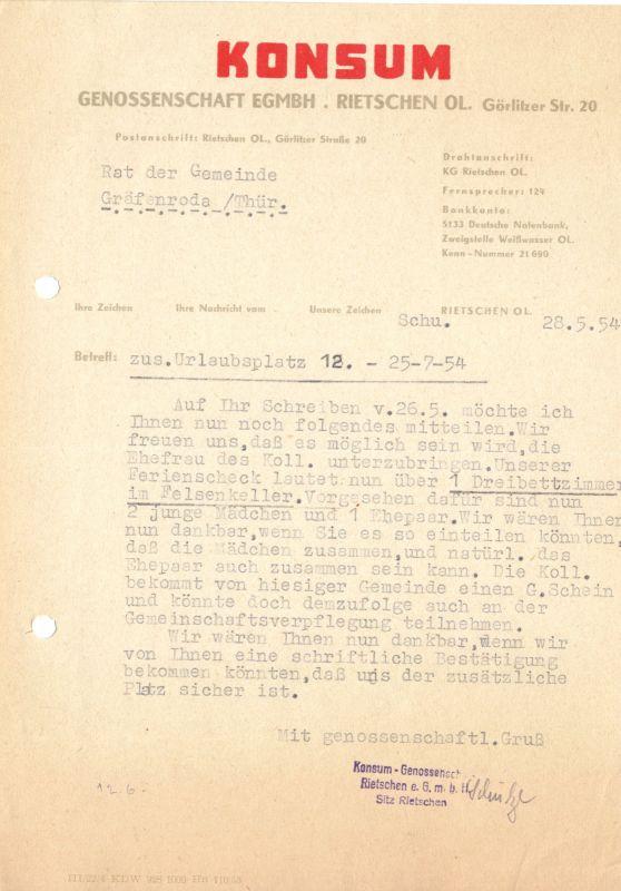 Anschreiben,Konsum Genossenschaft Rietschen OL, Urlaubsplatz in Gräfenroda, 1954