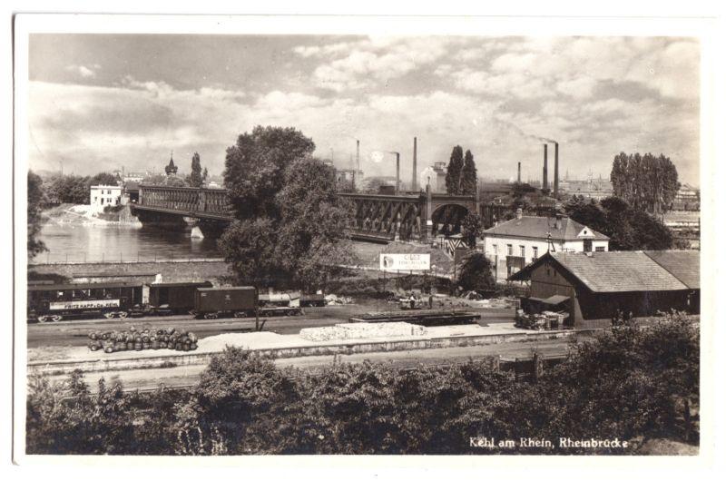 Ansichtskarte, Kehl am Rhein, Rheinbrücke und Bahnanlagen, 1934