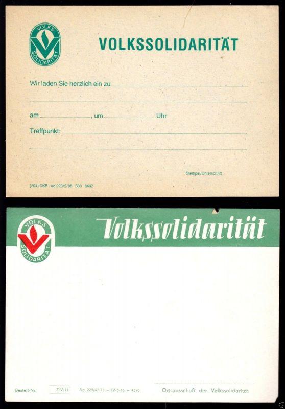 Zwei Informationsvordrucke der Volkssolidarität der DDR, blanko, 1973 bzw. 1988
