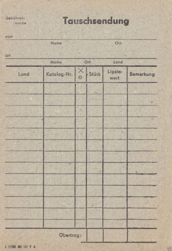 Zettel für Briefmarken - Tauschsendung, blanko, 1980