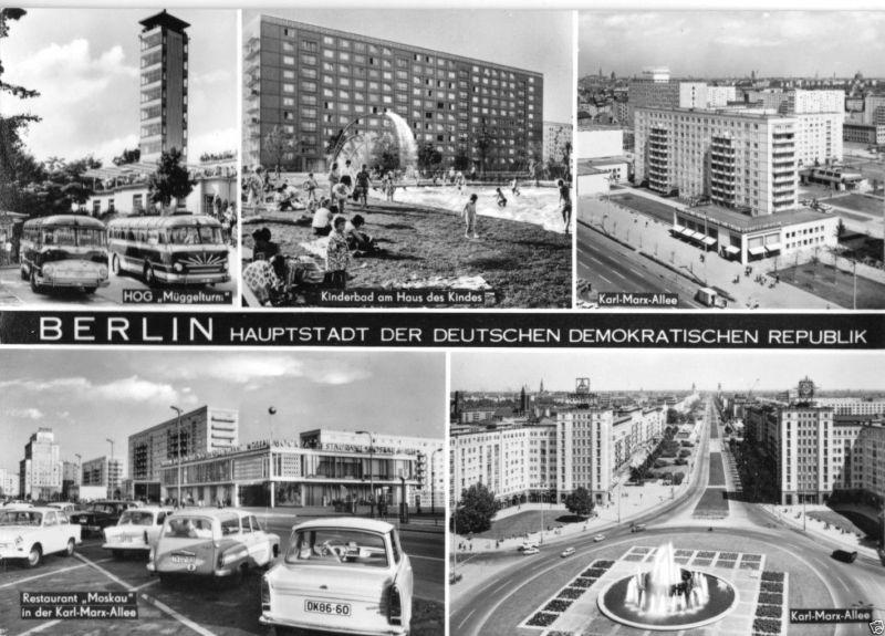Ansichtskarte, Berlin - Hauptstadt der DDR, fünf Abb., 1970
