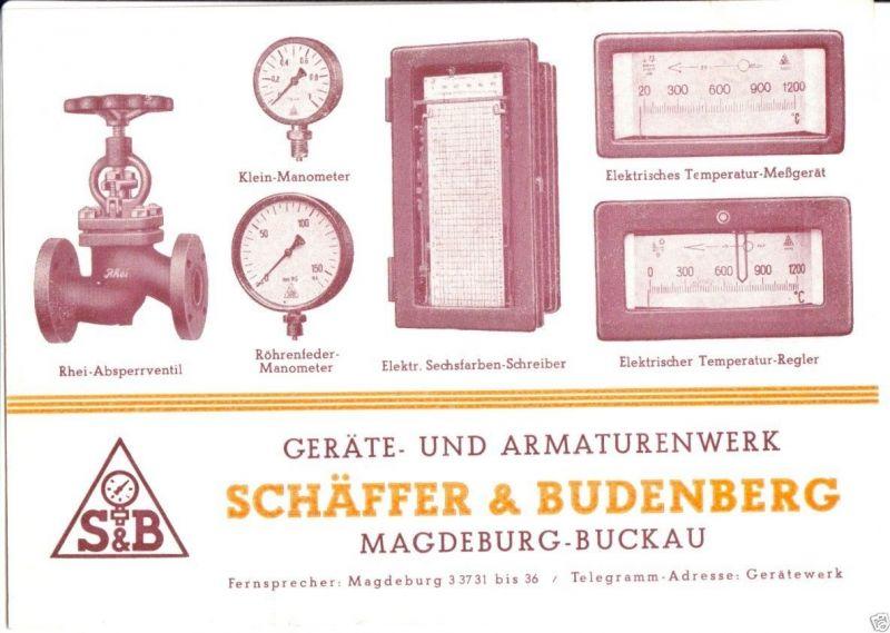 Werbezettel, Fa. Geräte und Armaturenwerk Schäfer & Budenberg, Magdeburg, 1948