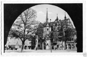 Ansichtskarte, Saalfeld Saale, Blick zum Rathaus, 1957
