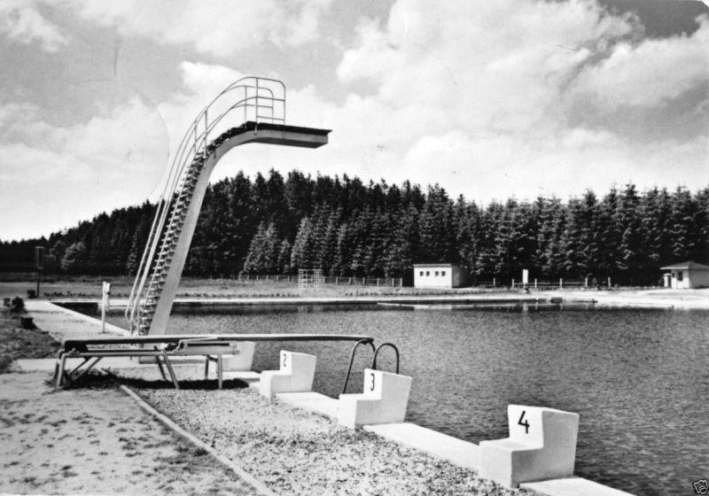 Ansichtskarte, Marienberg Erzgeb., Sommerbad mit Sprungturm, 1966