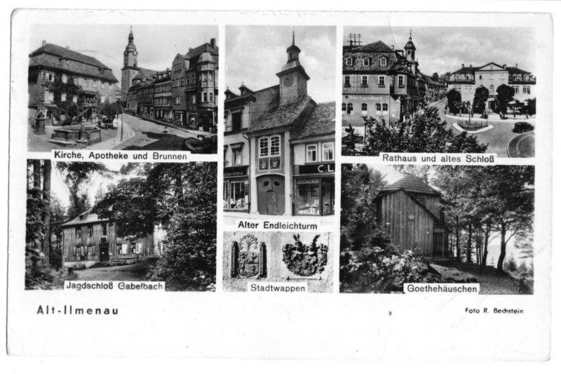 Ansichtskarte, Ilmenau Thür. Wald, sechs Abb., Alt-Ilmenau, 1955
