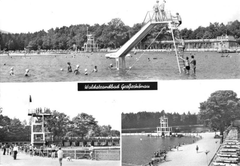 Ansichtskarte, Großschönau, drei Abb., Waldstrandbad, 1971