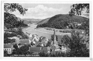 Ansichtskarte, Stadt Wehlen Sächs. Schweiz, Teilansicht, 1951