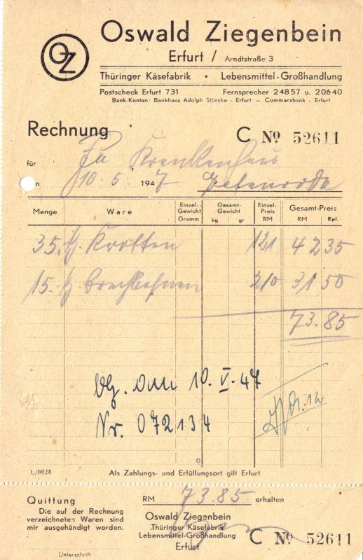 Rechnung, Fa. Oswald Ziegenbein, Erfurt, Thüringer Käsefabrik, 10.05.1947