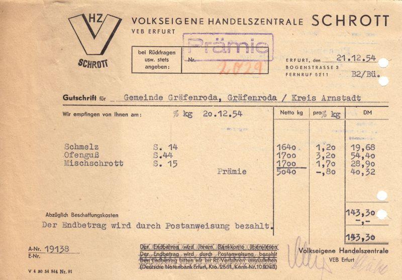 Prämienrechnung, Volkseigene Handelszentrale Schrott Erfurt, 21.12.1954