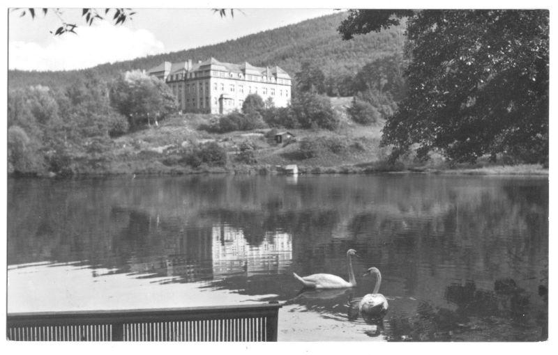 Ansichtskarte, Ilmenau Thür. Wald, Ritzbühler Teich mit Goethe-Oberschule, 1967
