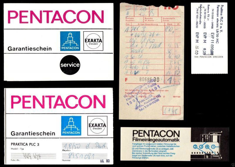 Kauf und Garantieunterlagen für Kamera und Obejektiv Pentacon PLC3, 1980