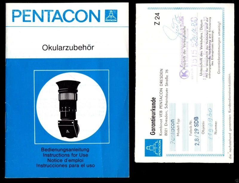 Kauf und Garantieunterlagen für Kamera und Obejektiv Pentacon PLC3, 1980 1