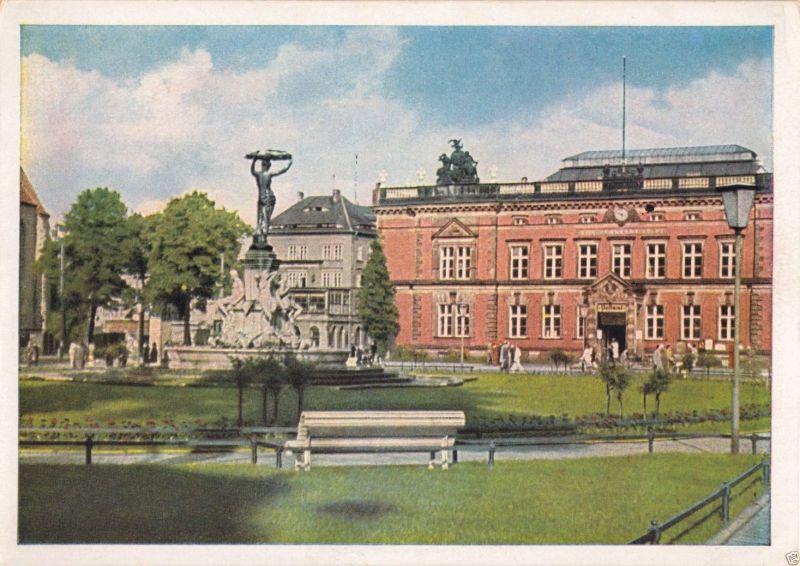 Ansichtskarte, Görlitz, Postplatz mit Kunstbrunnen, früher DDR-Farbdruck, 1951