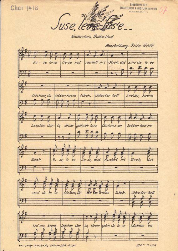 Mappe mit Noten und Text für den Chorgesang, zwölf Titel, frühe 1950er