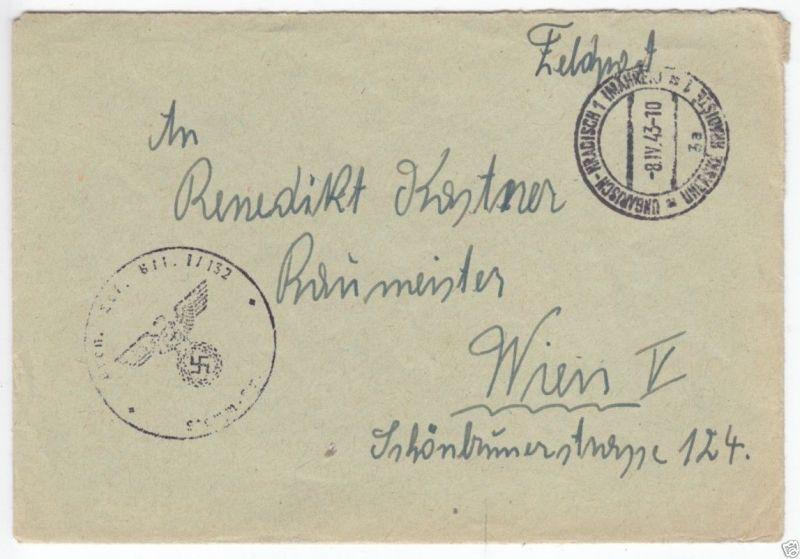 Feldpostbeleg, II. WK, Ungarisch-Kradisch 1 (Mähren), 8.IV.43