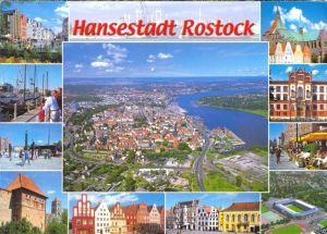 Ansichtskarte, Hansestadt Rostock, Luftbildansicht und 11 Teilansichten, 2011