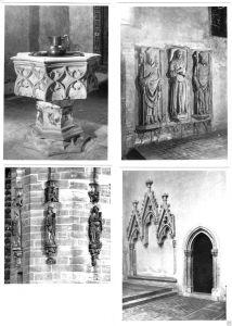 Lot von 4 Fotos im Ansichtskarte-Format, Erfurt, Augustinerkirche, Innenansichten, um 1950