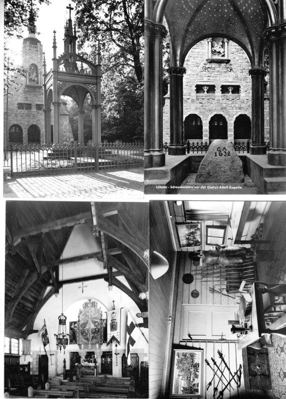 Lot von 4 Fotos im Ansichtskarte-Format, Lützen, Schwedenkapelle, 1962