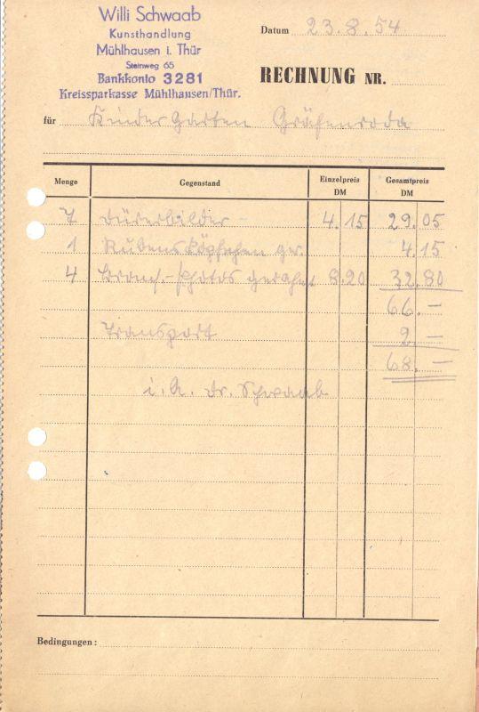 Rechnung, Firma Willi Schwaab Kunsthandlung, Mühlhausen, 23.8.54