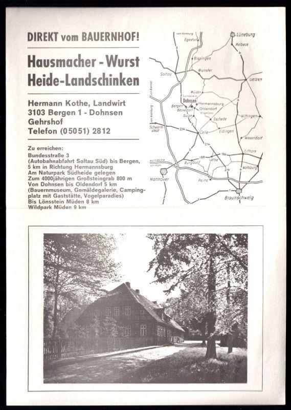 Werbe-Prospekt, Bergen - Dohsen, Landfleischerei Hermann Kothe, 1977
