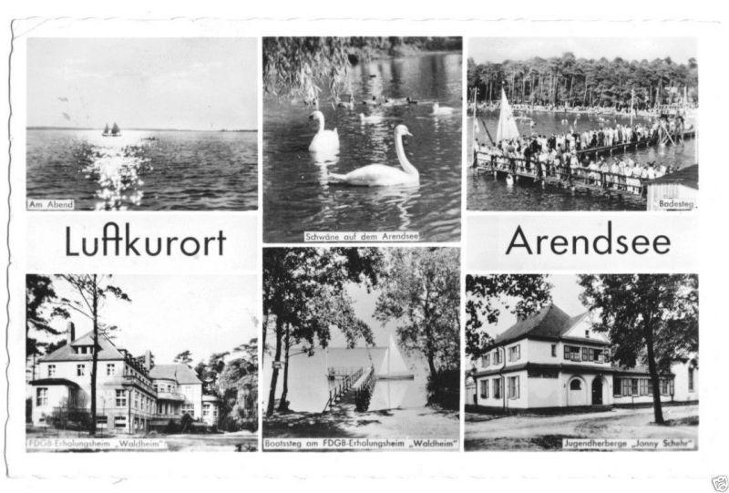 Ansichtskarte, Arendsee Altmark, sechs Abb., 1960