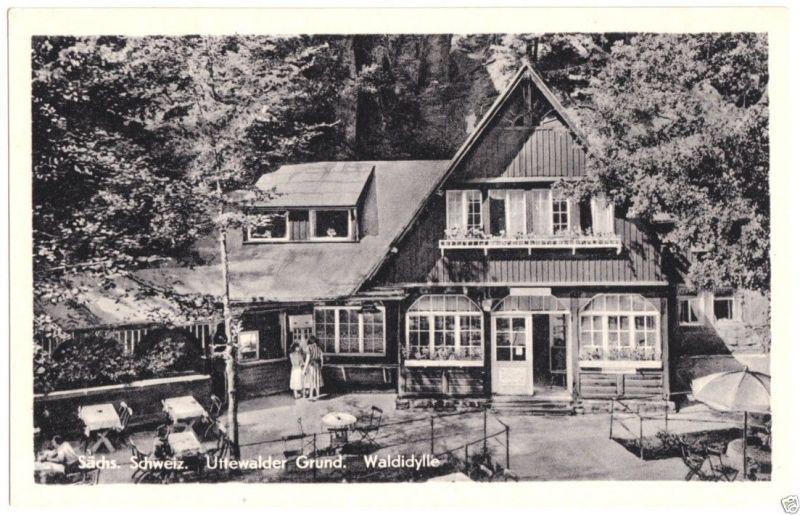 Ansichtskarte, Uttewalde Sächs. Schweiz, Uttewalder Grund, Gaststätte