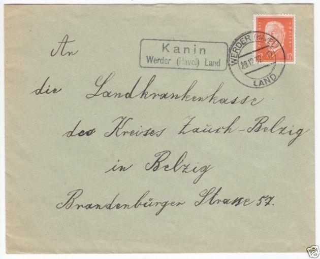 Landpoststempel, Kanin Werder (Havel) Land, Werder (Havel) Land, 20.12.32