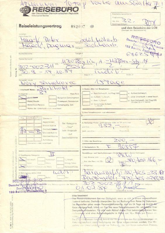 Drei Reiseverträge Reisebüro der DDR (2) u. Pragotur (1), 1980er