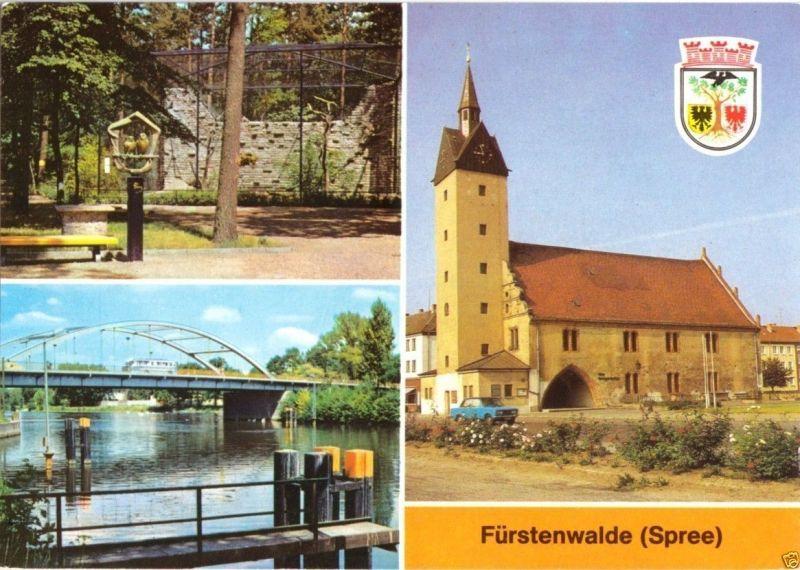 Ansichtskarte, Fürstenwalde Spree, drei Abb., Wappen, 1986