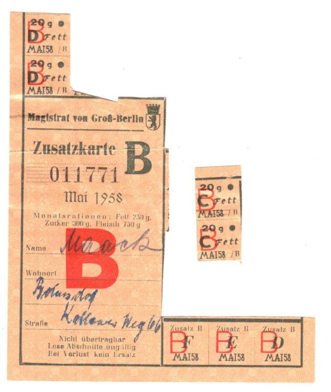 Reste mehrerer Lebensmittelkarten, Berlin Ost, 1958/59