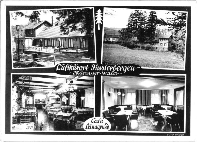 Ansichtskarte, Finsterbergen Thür. Wald, Café Leinagrund, vier Abb., gestaltet, 1974