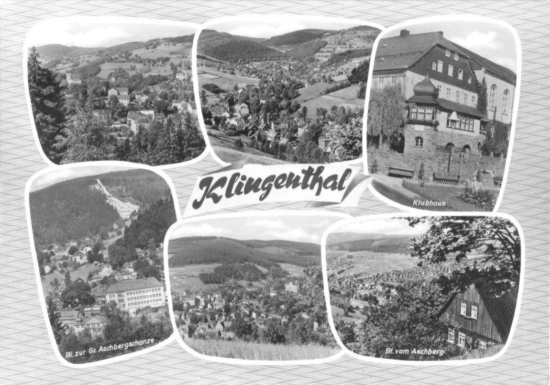 Ansichtskarte, Klingenthal, sechs Abb., gestaltet, 1965